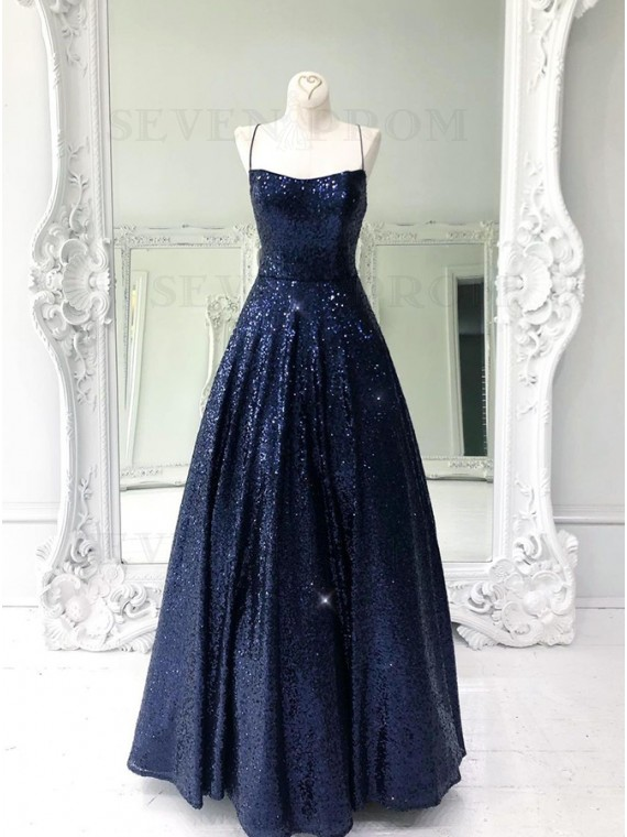 Long Navy Blue Sequin Prom Dress