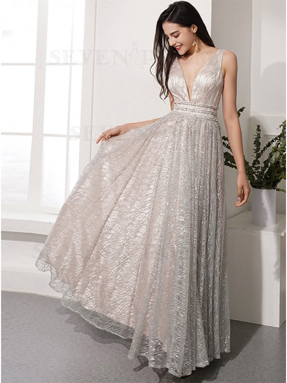 A-Line V-Neck Long Silver Prom Dress with Sequin Beading