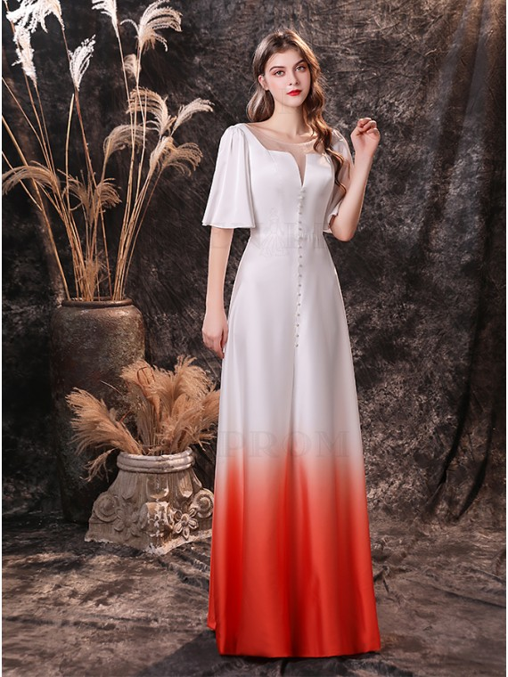 Simple Half Sleeves Ombre Red Wedding Dress