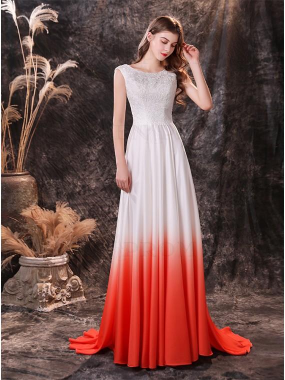Satin Ombre Beach Wedding Dress