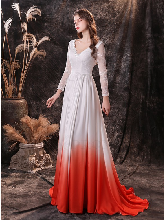 Elegant White and Red Ombre Wedding Dress with Sleeves