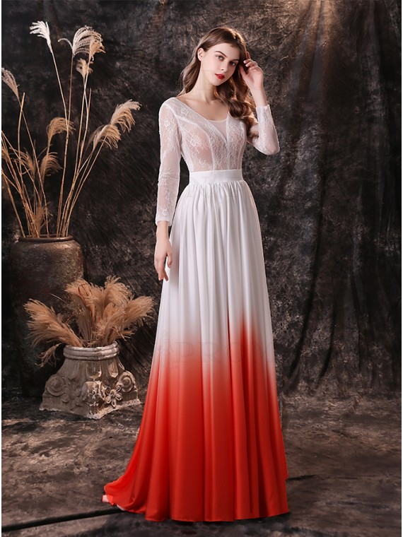 A-Line White and Red Wedding Dress with Sleeves