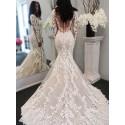 Mermaid Bateau Long Sleeves Sweep Train Wedding Dress with Appliques