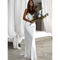 Simple Sheath Cowl Backless Beach Wedding Dress