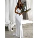 Free Shipping Simple Sheath Cowl Backless Beach Wedding Dress