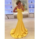 Straps Sleeves Yellow Prom Dress with Tiered Mermaid Party Dress