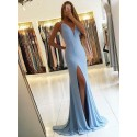 Mermaid V-Neck Light Blue Stretch Satin Prom Dress with Split