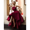 A-Line Halter High Low Sleeveless Burgundy Lace Prom Dress
