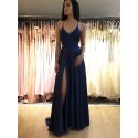 Simple Long Spaghetti Straps Sleeveless Navy Blue Prom Dress with Split