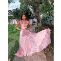 Pretty A-Line Straps Pink Prom Dress with Pleats Sleeveless Long Party Dress