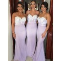 Mermaid Spaghetti Straps Sweep Train Backless Lilac  Bridesmaid Dress with Lace