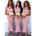 Mermaid Round Neck Cap Sleeves Long Bridesmaid Dress with Lace