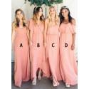 A-Line Spaghetti Straps Floor-Length Coral Bridesmaid Dress