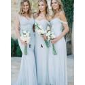A-Line Off-the-Shoulder Long Light Blue Chiffon Bridesmaid Dress