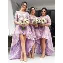 Chic Pink Jewel 3/4 Sleeves High Low Organza with Appliqeus Bridesmaid Dress
