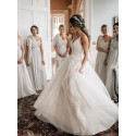 A-Line V-Neck Floor-Length White Tulle Wedding Dress with Appliques