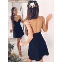 A-Line Spaghetti Straps Backless Short Black Homecoming Dress