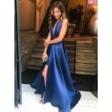 A-line Deep V-Neck Royal Blue Prom Dress with Split Backless Party Dress