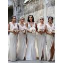 Sheath Slit Leg V-Neck Sleeveless Ivory Long Bridesmaid Dress