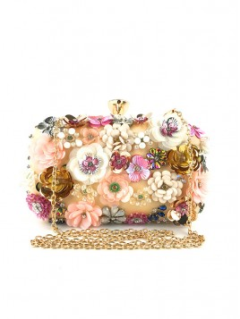 Flower Pearl Chain Clutch