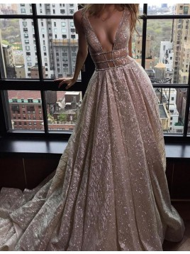 A-Line Deep V-Neck Long Champagne Prom Dress Backless Evening Dress