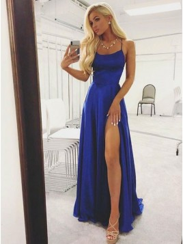 Spaghetti Straps Royal Blue Prom Dress with Split Long Backless Prom Gown