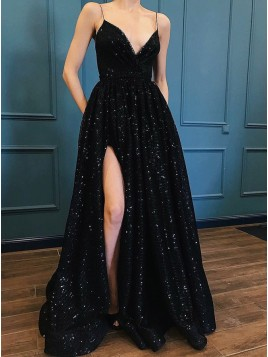 A-Line Spaghetti Straps Black Prom Dress with Sequin Pockets Split