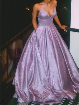 A-Line Spaghetti Straps Long Lilac Prom Dress Glitter Evening Dress
