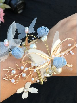 Butterfly Wrist Corsage with Pearls