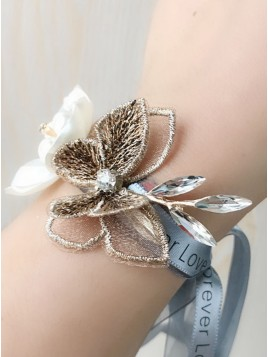 Ribbon Bracelet Wrist Corsage With Pearls
