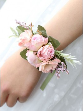 Artificial Silk Rose Flower Wrist Corsage