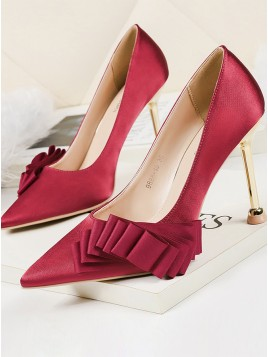 Red Women's Shoes Spool High Heels with Bowknot