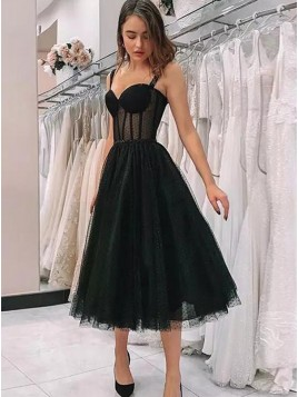 Cute Straps Short Prom Dress Black Fairy Vintage Homecoming Party Dresses