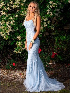 Mermaid Long Spaghetti Straps Light Blue Prom Dress with Appliques