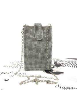Silver Rhinestone Chain Clutch Bag
