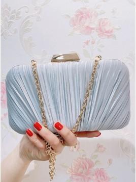 Elegant Polyester Blue Chain Clutch Bag