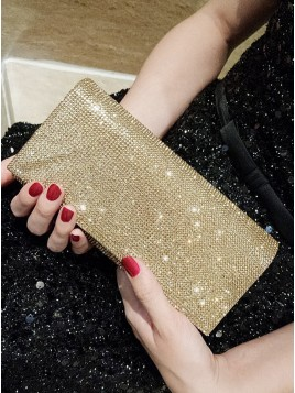 Fashionable Polyester Gold Satchel