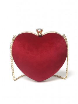Red Heart Chain Clutch Bag