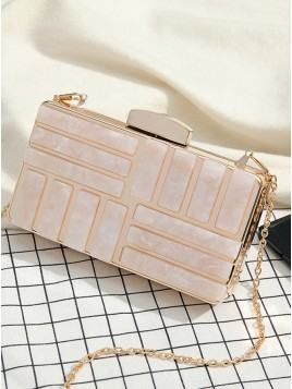 Pearl Pink Chain Clutch Bag