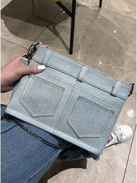 Light Blue Canvas Cowboy Style Clutch Bag