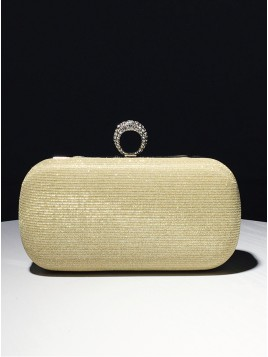 Gold Beaded Closure Chain Clutch Bag