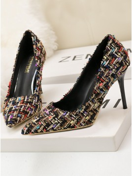 Women Plaid Stiletto Heels Pumps Shoes