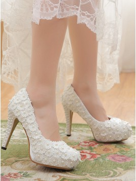 Closed Toe Platform White High Heels with Pearls Lace