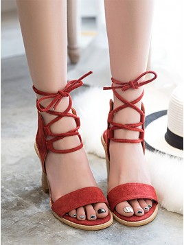 Suede Cross Straps with Chunky Red Sandals