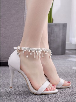 White Ankle-Strap Prom Shoes with Pearls