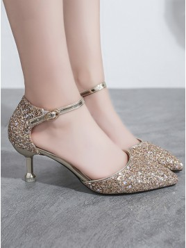 Gold Sequins Low Heels for Prom