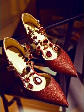 Red Luxury Rhinestones Low Heels Fashion Shoes