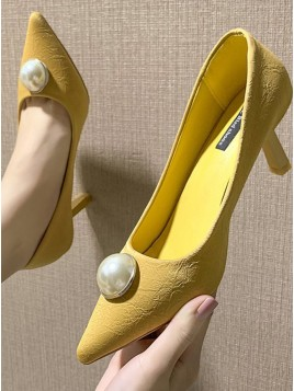 Yellow Low Heel Prom Shoes with Pearl