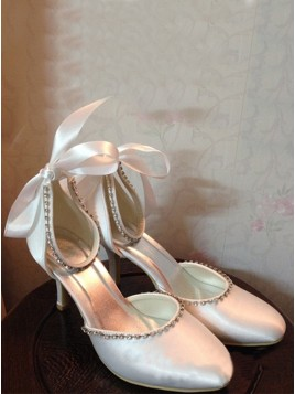 Spool Heel Closed Toe Pumps Wedding Shoes With Bowknot