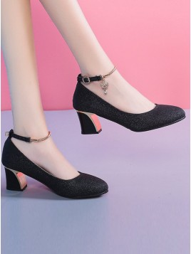 Chunky Heel Closed Toe Black Prom Shoes